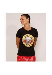 Camiseta De Algodão Da Banda Guns N' Roses Manga Curta Decote Redondo Preta