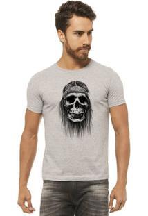 Camiseta Joss Estampada - Caveira Bandana - Masculina - Masculino-Mescla