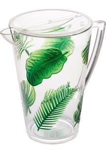 Jarra Acrílico Com Tampa Leaf Verde 2,9L