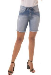 Bermuda Jeans Eventual Mid Rise Meia Coxa Feminina - Feminino-Azul Claro