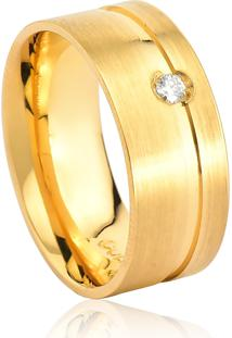 Aliança De Ouro 18K Anatômica Fosca Larga Com Friso E Diamante (8,00Mm)