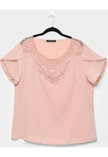 Blusa Lemise Plus Size Renda Feminina - Feminino-Rosa Claro