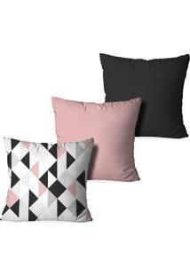 Kit 3 Capas Love Decor Para Almofadas Decorativas Triangulos Escandinavos Multicoloridos Rosa - Kanui