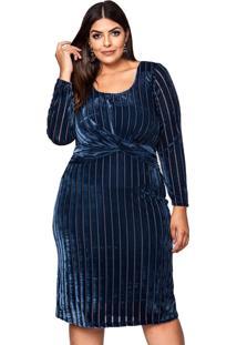 Vestido Almaria Plus Size Pianeta Devorê Azul Marinho
