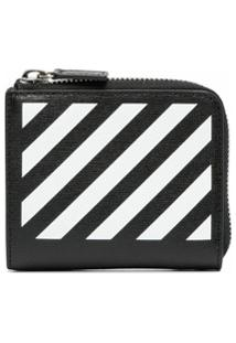 Off-White Carteira Com Listras Diagonais - Preto