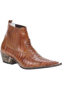 Bota Couro Texana Escamada Via Boots Masculina - Masculino-Caramelo