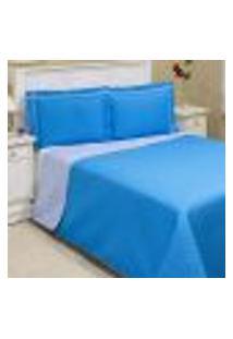 Cobre Leito Queen Dupla Face Basic Durban Azul Turquesa E Azul Claro 3 Peças Com Posta Travesseiro