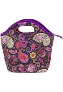 Bolsa Ana Viegas Handbag Tecido Mão Forro Impermeável Prática Feminina - Feminino-Roxo