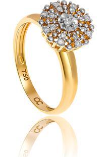 Anel De Ouro 18K Chuveiro Com Diamantes Rodinados