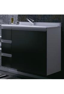 Armário Para Banheiro Branco/Preto Com Gravetas(Lado Esquerdo) -...