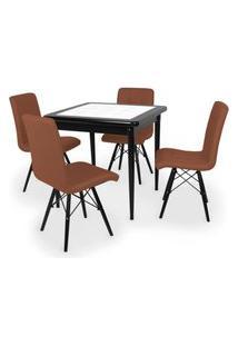 Conjunto Mesa De Jantar Em Madeira Preto Prime Com Azulejo + 4 Cadeiras Gomos - Marrom