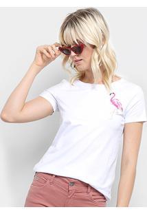 Camiseta Top Moda Flamingo Bordada Feminina - Feminino