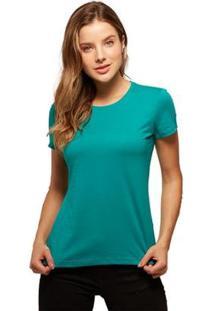 Camiseta Basicamente Babylook Básica Feminina - Feminino-Verde