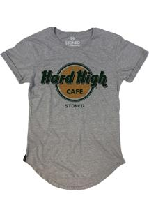 Camiseta Stoned Longline Hard High Cafe Cinza