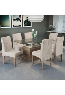 Mesa Jantar Com 6 Cadeiras Csj030No – Kappesberg - Bege