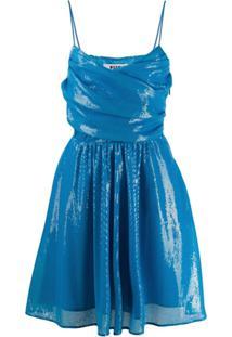 Msgm Vestido Envelope Com Detalhe De Paetês - Azul