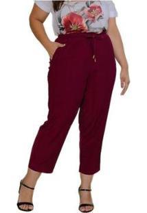 Calça Sinopzzi Plus Size Cintura Média Feminina - Feminino-Vinho