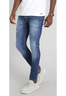 Calça Jeans Masculina Skinny Com Puídos Azul Médio