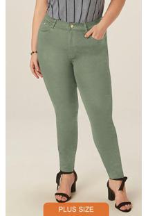 Calça Verde Musgo Skinny Em Sarja Com Elastano