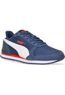 Tenis Puma Running Runner V2 Azul Branco Vermelho