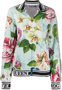 Dolce & Gabbana Jaqueta Bomber Com Estampa Floral - Azul