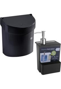 Lixeira Pia E Porta Detergente Esponja Dispenser Coza Preto