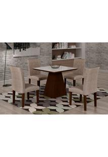 Conjunto De Mesa De Jantar Luna Com 4 Cadeiras Ane Ii Suede Amassado Castor, Branco E Chocolate