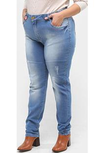 Calça Jeans Xtra Charmy Plus Size Com Martingale Feminina - Feminino