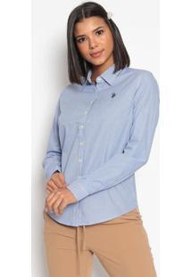 Camisa Listrada Com Bordado- Azul & Brancaus Polo