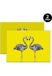 Jogo Americano Mdecore Flamingo 40X28Cm Amarelo 2Pçs