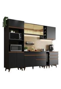 Cozinha Completa Madesa Reims 270001 Com Armário E Balcão Preto Preto