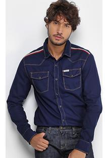 Camisa Jeans Calvin Klein Listras Masculina - Masculino