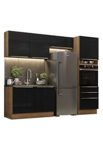 Cozinha Completa Madesa Lux 260005 Com Armário E Balcão Rustic/Preto Rustic
