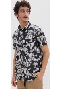 Camisa Manga Curta Estampa Caveira E Flores