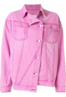 Sjyp Jaqueta Jeans Assimétrica - Rosa