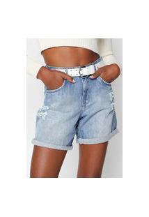 Bermuda Jeans Lez A Lez Reta Destroyed Azul