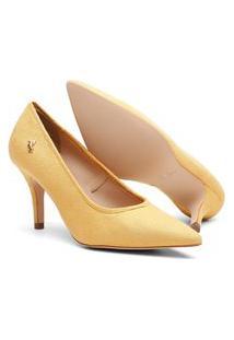 Scarpin Feminino Camurça Candy Color Bico Fino Salto Médio Amarelo 34 Amarelo