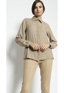 Camisa Com Pregas- Marrom Claroenna