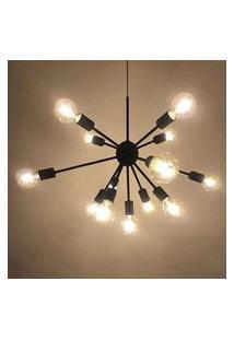 Lustre Pendente Moderno Sputnik Preto - 13 Lâmpadas (Náo Inclusas)