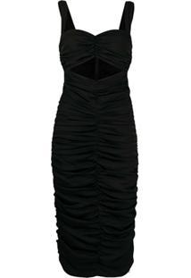Dolce & Gabbana Vestido Com Franzido E Recorte Vazado - Preto