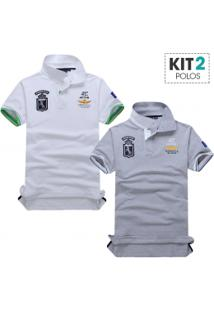 Kit 2 Camisas Polo Piquet Masculino Air Force Manga Curta - Branco E Cinza