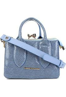 Bolsa Couro Jorge Bischoff Mini Bag Jeans Feminina - Feminino-Marinho