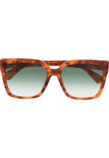 Moschino Eyewear Óculos De Sol Quadrado Com Efeito Tartaruga - Marrom