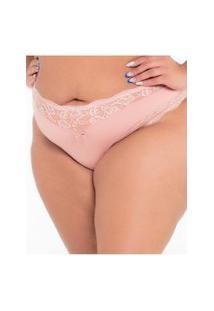 Calcinha Click Chique Biquíni Plus Size Detalhe Renda Rosa