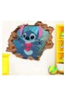 Adesivo De Parede Buraco Falso 3D Infantil Stitch - G 82X100Cm