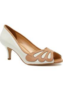 Sapato Zariff Shoes Peep Toe Salto - Feminino-Branco