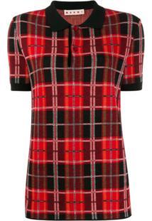 Marni Camisa Polo De Tricô Xadrez - Vermelho