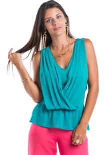 Blusa Marcia Mello Drapeada Verde Aruba
