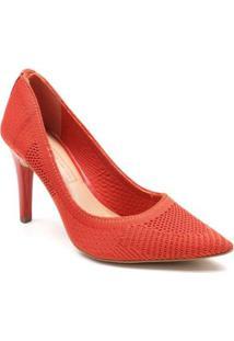 Sapato Scarpin Tanara Malha Feminino - Feminino-Laranja