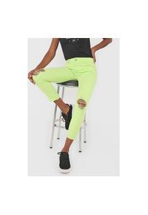 Calça Cropped Sarja Dimy Skinny Selena Neon Verde